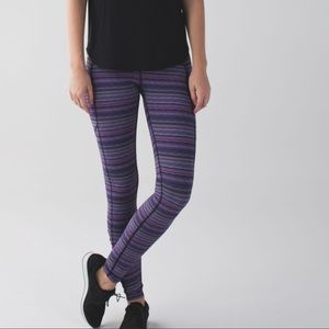 Lululemon speed right purple striped leggings